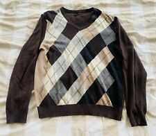 Super Rare and Vintage! Benetton Argyle Sweater V-Neck - Mens Large