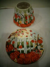 YANKEE CANDLE SMALL JAR SHADE & PLATE PUMPKINS WHITE PICKET FENCE FALL HARVEST