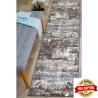 Vintage Distressed Abstract Blue 2 Ft. X 7 Ft. Runner Rug
