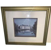 "Michel Delacroix ""Azay Le Rideau"" Framed Stone Signed Litho Art 16""x 14"" Matted"