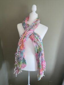 Lilly Pulitzer for Target Nosey Posey Nosie Posie Scarf/Sarong with Pom Poms