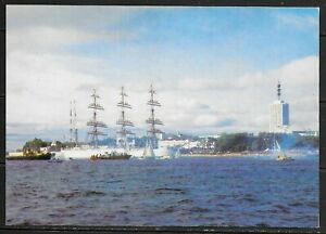 """1985 Postcard Russia of Sailing Ship """"Sedov"""" in Archangel Harbour that is unused"""