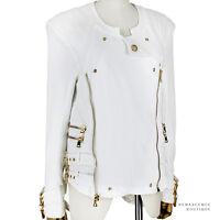 Balmain White Cotton Gold Hardware Collarless Biker Style Jacket FR40 UK12