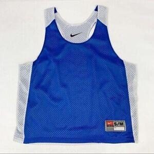 Nike Blue White Mesh Perforated Reversible Jersey Tank Top Men's Small Medium