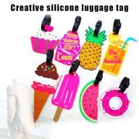 5 Pcs Silicone Travel Luggage Tags Cartoon Suitcase Baggage Name Address Label