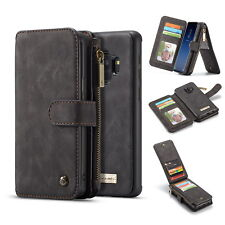 For Samsung Galaxy S9 Leather Zipper Magnetic Flip Card Wallet Removable Case