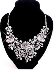 New Women Fashion Jewelry Retro Silver Crystal Flower Leaf Bib Chunky Necklace