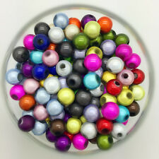 100PCS 6mm 3D Acrylic Mixed Round Pearl Spacer Loose Dream Beads Jewelry Making