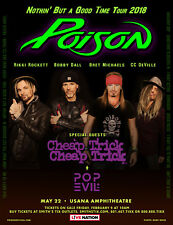 "POISON /CHEAP TRICK ""NOTHIN' BUT A GOOD TIME TOUR 2018"" SALT LAKE CONCERT POSTER"