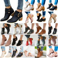 Womens Ankle Boots Chunky Low Mid Block Heels Booties Ladies Chelsea Shoes Size