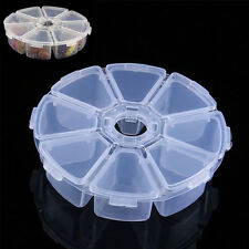 8 Slots Clear Empty Plastic Round Beads Storage Case for Nail Art Jewelry Box