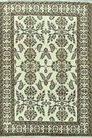 Vintage Ivory Geometric Ferdos Area Rug Traditional Hand-Knotted Oriental 7x10