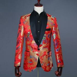 Fashion Men's Suits Floral Loose Wedding One Button Classic Dragon Basic Jacket