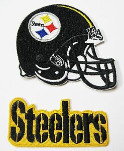 1 LOT OF (2) NFL STEELERS EMBROIDERED PATCHES - NAME & HELMET (TYPE C) ITEM #12