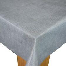 Grey Linen Look PVC Vinyl Wipe Clean Oilcloth Tablecloth