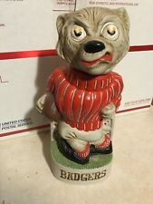Vintage Wisconsin Bucky Badger Porcelain Whiskey Decanter Football McCormick 74