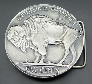 Buffalo Nickel Five Cent Coin Indiana Metal Craft Vintage Belt Buckle