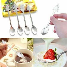 4Pcs Mini Christmas Stainless Steel Coffee Tea Kids Spoon Teaspoon Tableware