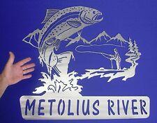 LARGE Trout Fly Fishing Wall Art Sign Plasma Cut Fish Metolius River Bend Oregon