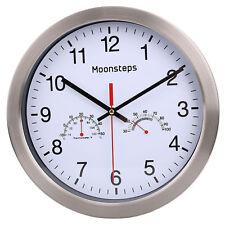 Silent Wall Clock - Metal Frame Temperature & Humidity Reader Dial Clock