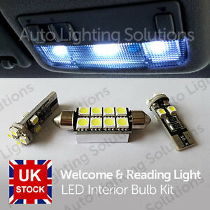 For Vauxhall Corsa D Xenon White Interior LED Welcome & Reading Lights Upgrade