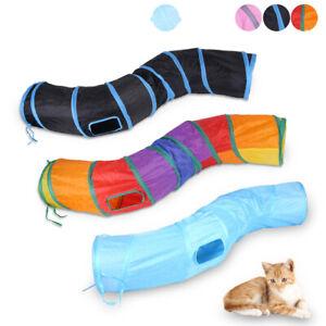 Pet Cat Tunnel Play Toy Foldable Exercise S-shape Tube peek hole dog kitten Toys