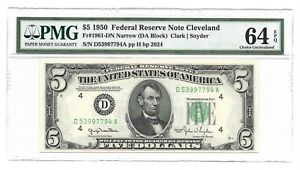 1950 $5 CLEVELAND FRN, PMG CHOICE UNCIRCULATED 64 EPQ BANKNOTE, NARROW