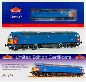 BACHMANN 00 GAUGE - 32-800K - CLASS 47 DIESEL D1733 XP64 BLUE LIVERY CLUB LOCO