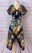 NWT ANNA SUI Womens Size 8 Floral Burnout Asymmteric Hem Midi Dress