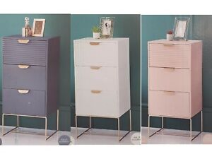 Loft Superb 3 Drawer Chest Tables With Rose Metal Gold Handles & Legs Bedroom