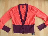 MARC CAIN kurzer Cardigan Strickjacke orange lila m Kaschmir NP 200 Gr. N 3 NEU