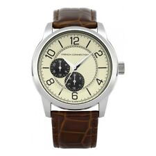 FRENCH CONNECTION WATCH 30% SALE! Gents 100mWR S/STEEL Brown Leather RRP $229