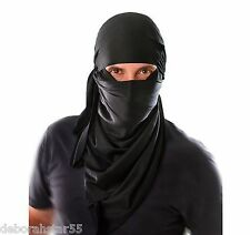 Ninja Fancy Dress Costume Kit Hood & Scarf Adult Samurai Kung Fu Assassin O/S