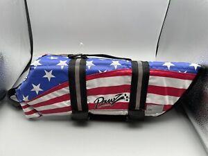 NEW Pawz Pet Products Nylon Dog Life Jacket American Flag Size Medium Summer