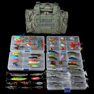 Fishing Tackle Bag Full with 5 Trays 60 Spinners Spoon Crankbait Huge Gear Kit