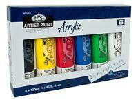6 X 120ml Tubes De Artiste Acrylique Peinture Assorti Couleurs & Palette