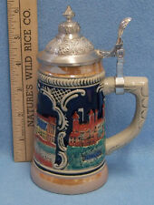 Lidded Pottery Mini Beer Stein Mug England UK Buckingham Palace Louvre Square