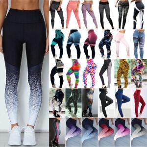 Womens Yoga Gym High Waist Leggings Fitness Sport Pants Running Stretch Trousers