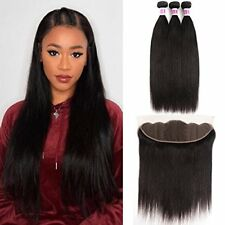 JiSheng 13x4 Ear To Ear Lace Frontal Closure With Bundles 8A Brazilian Straight