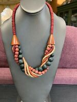 Vintage Multi Strand Multi Pastel Color Wood  Beaded Bohemian Long Necklace