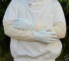 Beekeeping Bee Gloves - Soft White Goats Leather with Cotton Gauntlets All Sizes