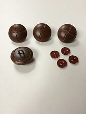 4x REAL leather football buttons WITH backing buttons, 20mm, 25mm, colours