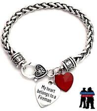 My Heart Belongs To A Firefighter Fireman Fire Dept Wife Silver Charm Bracelet