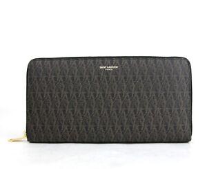 Saint Laurent YSL Men's Black/Brown Leather Zip Around Wallet 343799 1059