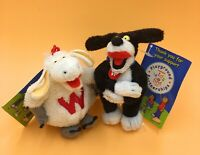 Woolly the Sheep & Worth the Dog Woolworths Soft Toy Keyring Collectable 2006