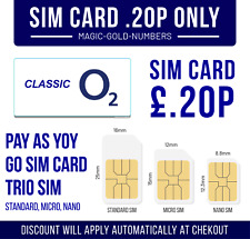O2 Sim Card Pay As You Go PAYG ⭐ONLY 20P⭐ 2G/3G/4G Standard Micro Nano 02