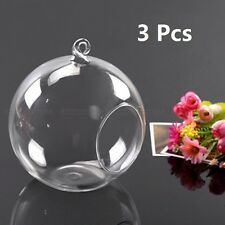 3pcs Flower Glass Hanging Vase Ball Plant Terrarium Container Home Wedding Decor