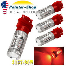 4 Pcs Red 3157/3156 High Power 80W Non-Polarity LED Tail Brake Stop Light Bulbs