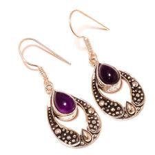 Brazil Amethyst Teardrop Gemstone silver plated Handmade Oxidized Drop Earrings