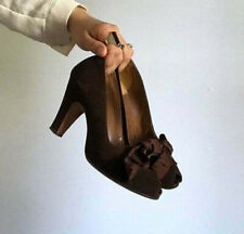 1940s Rockabilly Brown Bow Noir Suede Shoes Vintage 7
